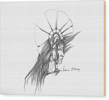 Head Wood Print by Padamvir Singh