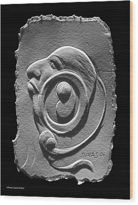 Wood Print featuring the relief Head by Suhas Tavkar