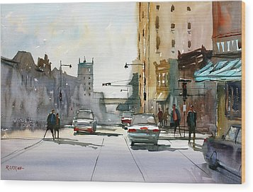 Heading West On College Avenue - Appleton Wood Print