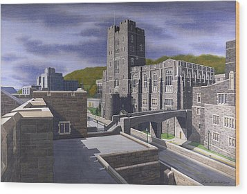 Headquarters Tower West Point Wood Print by Glen Heberling