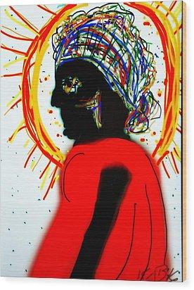 Headscarf Wood Print by Kathy Barney