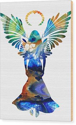 Healing Angel - Spiritual Art Painting Wood Print by Sharon Cummings