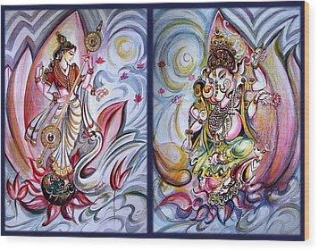 Healing Art - Musical Ganesha And Saraswati Wood Print