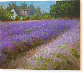 Impressionistic Lavender Field Landscape Plein Air Painting Wood Print by Karen Whitworth