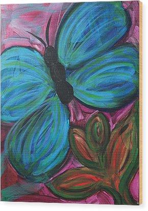 Healing Rain Butterfly Wood Print by Bethany Stanko