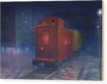 Hear That Lonesome Whistle Wood Print by Carol and Mike Werner