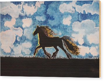 Hearing Thunder Wood Print by Connie Valasco