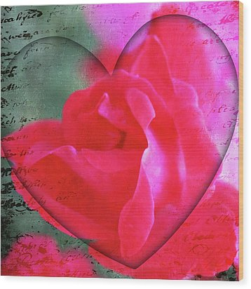 Heart And Rose Wood Print by Cathie Tyler