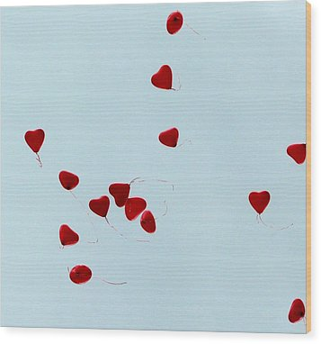 Heart Balloons In The Sky Wood Print by Valerie Ornstein