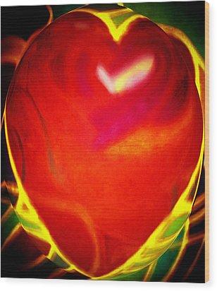 Heart Beating With Love Wood Print by Brenda Adams