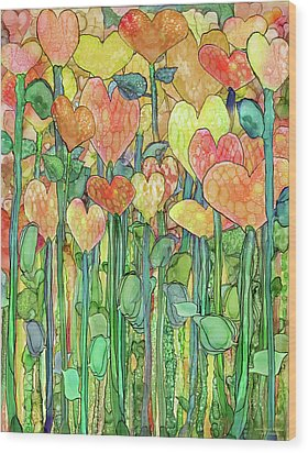 Wood Print featuring the mixed media Heart Bloomies 1 - Golden by Carol Cavalaris