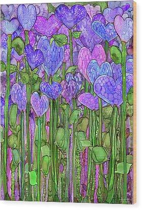 Wood Print featuring the mixed media Heart Bloomies 1 - Purple by Carol Cavalaris