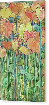 Wood Print featuring the mixed media Heart Bloomies 2 - Golden by Carol Cavalaris