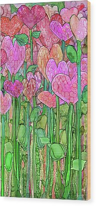 Wood Print featuring the mixed media Heart Bloomies 2 - Pink And Red by Carol Cavalaris