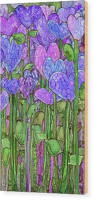 Wood Print featuring the mixed media Heart Bloomies 2 - Purple by Carol Cavalaris
