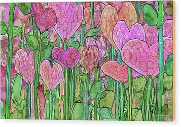 Wood Print featuring the mixed media Heart Bloomies 3 - Pink And Red by Carol Cavalaris