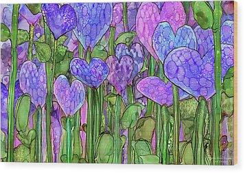 Wood Print featuring the mixed media Heart Bloomies 3 - Purple by Carol Cavalaris