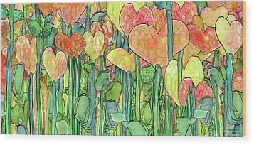 Wood Print featuring the mixed media Heart Bloomies 4 - Golden by Carol Cavalaris