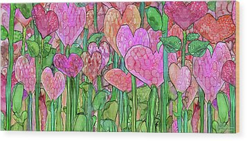 Wood Print featuring the mixed media Heart Bloomies 4 - Pink And Red by Carol Cavalaris