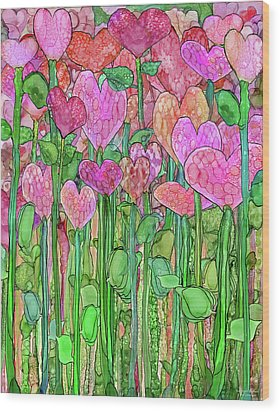 Wood Print featuring the mixed media Heart Bloomies 1 - Pink And Red by Carol Cavalaris