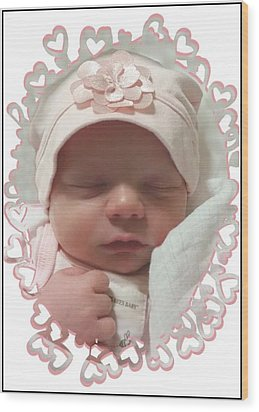 Heart Border On Newborn Girl Wood Print