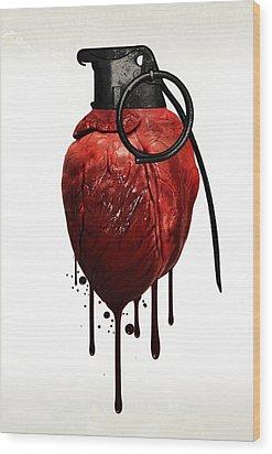 Heart Grenade Wood Print by Nicklas Gustafsson