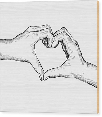 Heart Hands Wood Print by Karl Addison