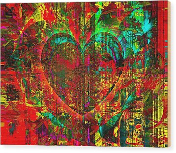 Heart In Flame Wood Print by Fania Simon