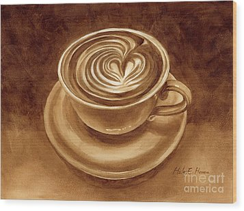 Wood Print featuring the painting Heart Latte by Hailey E Herrera