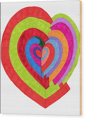 Heart Maze Wood Print by Brenda Adams