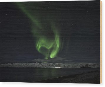 Heart Of Northern Lights Wood Print by Frodi Brinks