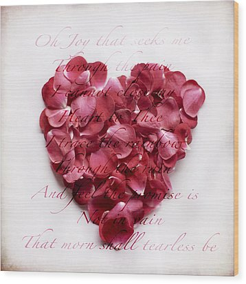 Heart Of Roses Wood Print