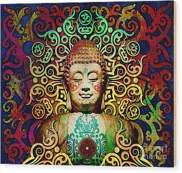 Heart Of Transcendence - Colorful Tribal Buddha Wood Print