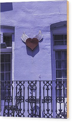 Heart On Wall Wood Print by Garry Gay