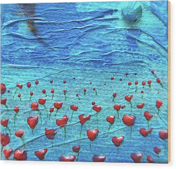 Heart Poppies Wood Print by Shawna Scarpitti