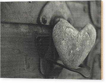 Heart Rock Wood Print by Toni Hopper