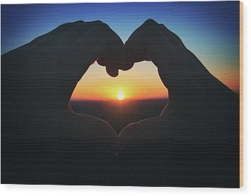 Heart Shaped Hand Silhouette - Sunset At Lapham Peak - Wisconsin Wood Print by Jennifer Rondinelli Reilly - Fine Art Photography