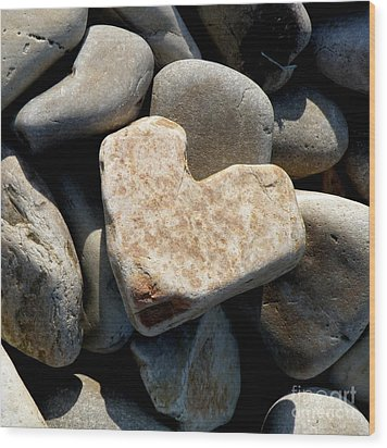 Heart Stone Wood Print by Lainie Wrightson