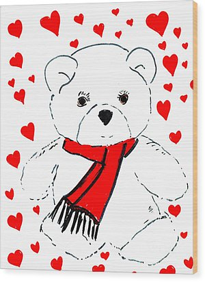 Heart Teddy Wood Print by Sonya Chalmers