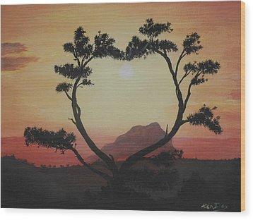 Heart Tree Wood Print by Ken Day
