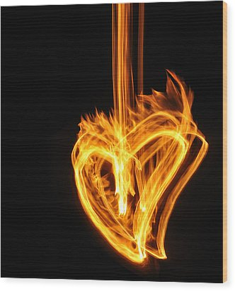 Hearts Aflame -falling In Love Wood Print by Mark Fuller