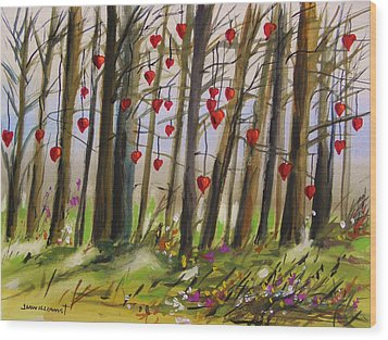 Hearts At Dusk Wood Print by John Williams