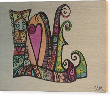 Hearts Wood Print by Claudia Cole Meek