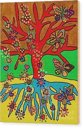 Hearts Grow Into Butterflies Wood Print by Sandra Silberzweig