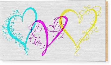 Hearts On White Wood Print by Swank Photography