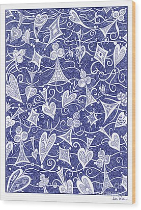 Hearts, Spades, Diamonds And Clubs In Blue Wood Print by Lise Winne