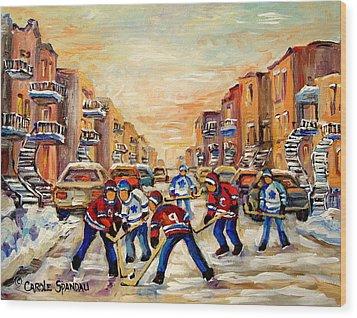 Heat Of The Game Wood Print by Carole Spandau