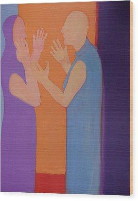 Heated Conversation Wood Print by Renee Kahn