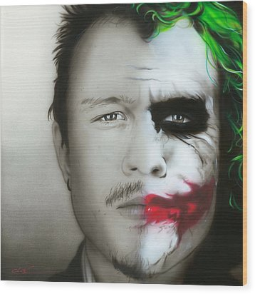 ' Heath Ledger / Joker ' Wood Print by Christian Chapman Art