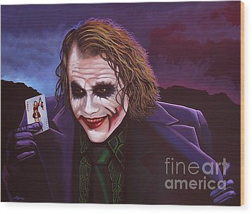 Heath Ledger As The Joker Painting Wood Print by Paul Meijering